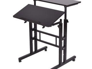 Mind Reader Multipurpose Home Office Computer Desk  Mobile Sit and Stand Desk  Workstation Desk  Black
