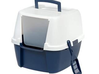 Cat litter Box with lid and Scooper   Navy White