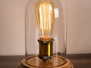 Surpars House   Glass Wood lamp with Edison Bulb