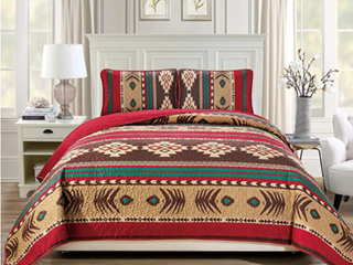 Rugs 4 less Western Southwestern Native American Tribal Navajo Design Oversize Quilted Bedspread in Brown Green and Burgundy Mojave