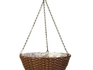 14in Resin Woven Hanging Basket Espresso Brown