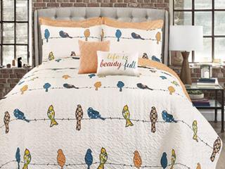 Rowley Birds 7 Piece Full Queen Quilt Set  Orange