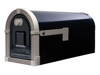 Gibraltar Mailboxes Brunswick large Galvanized Steel Post Mount Mailbox in Black