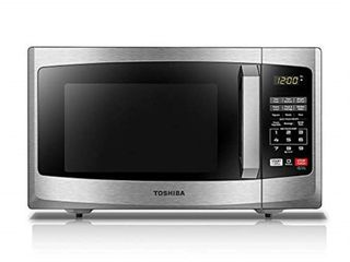 toshiba em925a5a ss microwave oven with sound on off eco mode and led lighting  0 9 cu  ft  stainless steel