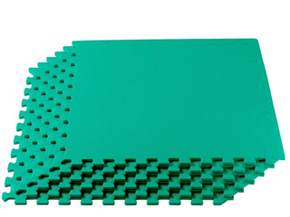 Green Play Workout Mat Connecting Squares   8 pieces   Green