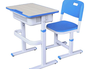 Multi Function Plastic Desk and Chair   Blue White