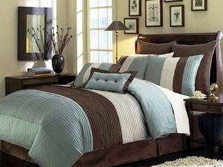 Chezmoi Collection 90 x 92 Inch 8 Piece luxury Stripe Comforter Bed in a Bag Set  Queen  Blue Beige Brown