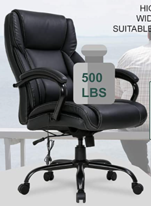 Big an Tall Black Office Chair 500lb Wide Seat