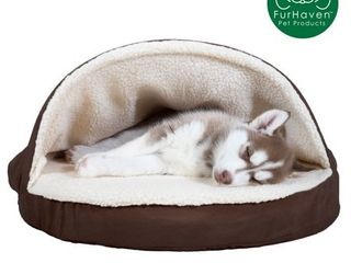 FurHaven Orthopedic Round Sheepskin Burrow Pet Dog Bed  Small  Espresso