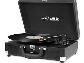 Victrola Bluetooth Portable Suitcase Record Player with 3 speed Turntable   Black