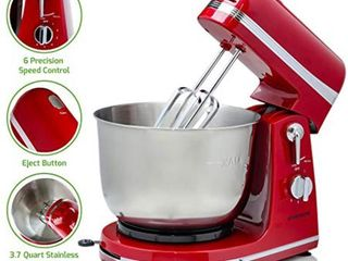 814667022554 Ovente Electric Stand Mixer with 3 7 Quart Stainless Steel Mixing Bowl and 6 Mixing Speed  300 Watts Powerful Motor for Easy Professional Whipping  Mixing  and Kneading  Red  SM880RI