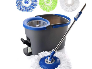 Simpli magic 79229 Spin Cleaning System Including 3 Mop Heads  Dark Grey blue