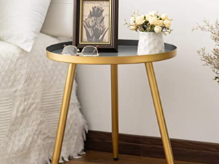 Gray Gold Metal Tray End Table