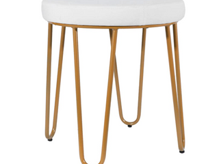 Vanity Chair   White with Distressed Gold Black legs