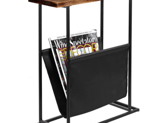 Wood   Metal End Table By My Gift W  Magazine Swing 21in