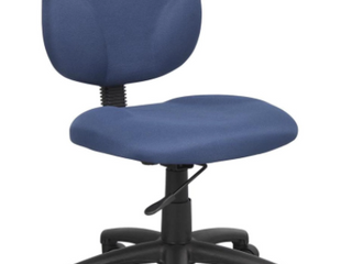Stainless Steel Blue leather Seat and Small Back Office Chair