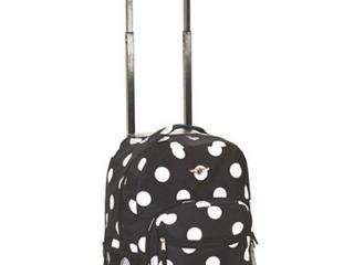 Rockland Rolling Backpack Black w  Grey Polka Dots