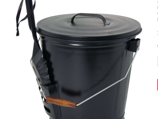 Black Metal Fireplace Ash Bucket with Brush  Scoop  and Bucket lid