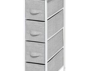 Mdesign Narrow Vertical Dresser Storage Tower   Sturdy Metal Frame  Wood Top