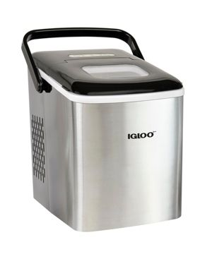 Igloo ICEB26HNSS 26 Pound Automatic Self Cleaning Portable Countertop Ice Maker Machine With Handle  Stainless Steel