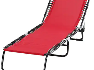 Red Aluminum 3 Fold Outdoor lounge Chair