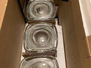 3 Glass Canisters with Metal Rack   Clear Black Metal