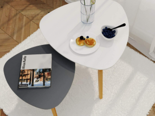 Set of Triangular End Tables   White Gray