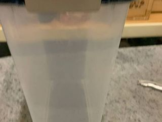 Clear with Blue lock Down lid 8g Trash Can