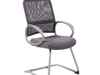 Boss Office Products Mesh Back W  Pewter Finish Guest Reception Waiting Room Chair