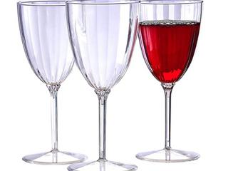 Silver Spoon And More Classic Stemware Disposable Plastic Wine Glasses 8oz