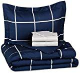 AmazonBasics 5 Piece Bed In A Bag   Twin Twin Extra long  Navy Simple Plaid