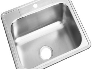 Elkay D125221 Dayton Stainless Steel Single Bowl Top Mount Sink with Single Faucet Hole  Satin