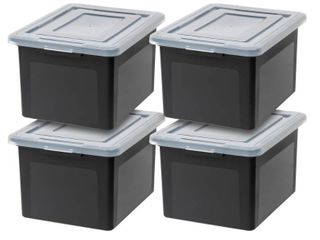 IRIS USA letter and legal Size File Box  4 Pack  Black