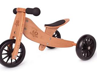 KinderFeets Tiny Tots 2 in 1 Small Wooden Trike Push Bike  Missing One Wheel