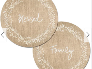 Round Reversible Wipe clean Placemats Set of 4   Family Blessed