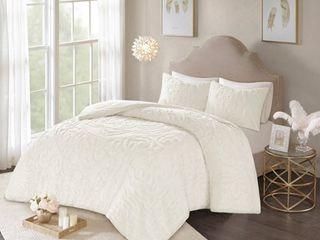 3pc King Cecily Cotton Medallion Comforter Set Ivory