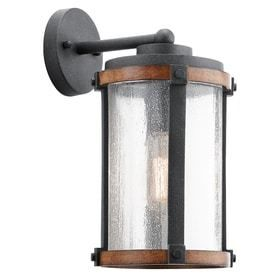 Kichler Barrington 13 in H Distressed Black And Wood Medium Base  E 26  Outdoor Wall light  Missing Hardware