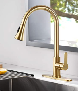 Amazing Force Pull Out Gold Toned Kitchen Faucet