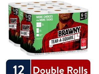 Brawny Tear A Square Paper Towels  12 Double Rolls