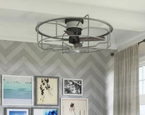 loring Collection 33  Four Blade Galvanized Ceiling Fan   17 910  x 35 510  x 35 430  Retail 594 00