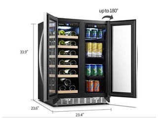 Under Counter Wine and Beverage Cooler 18 Bottles and 55 Cans  Retail 725 49