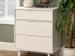 White  Mid Century Solid Pine Three Drawer Storage Chest