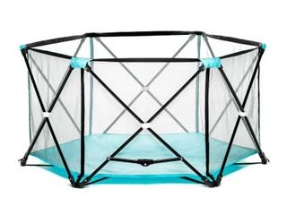 Regalo My Portable Play Yard Indoor and Outdoor  Bonus Kit  Includes Carry Case  Washable  Aqua  6 Panel   Not Inspected