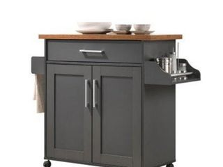 Hodedah Imports Kitchen Island with Spice Rack and Towel Holder