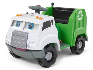 Kid Trax 6V Real Rigs Recycling Truck Interactive Powered Ride On   Green White   Not Inspected