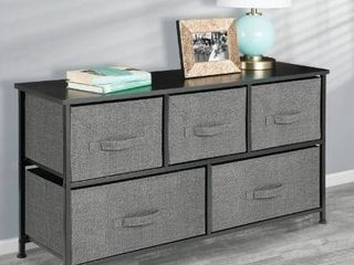 Fabric 5 Drawer low storage cabinet ASNG020