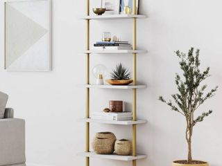 Nathan James Theo Industrial 5 Shelf Gold ladder Bookcase with White Open Shelves and Brass Metal Frame