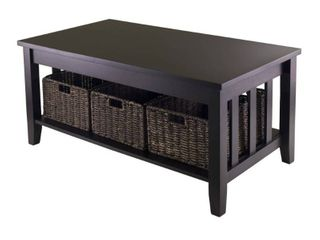 Morris Coffee Table with Baskets Espresso  Chocolate   Winsome