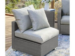 Handy living Aldrich Outdoor Grey Open Weave Rattan Armless Chair with Sunbelievable Taupe Cushions