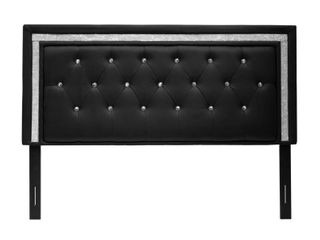 Best Master Furniture Upholstered leather Head Board with Rhinestones  Retail 124 99